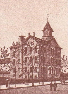 Evansville High School around 1890.  The original section had a new tower added and wings to each side.